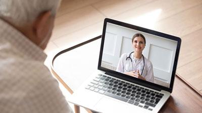 senior citizen in a telehealth appointment