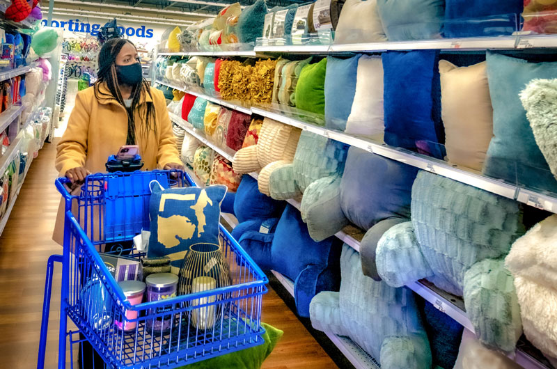 woman shopping in pillow aisle