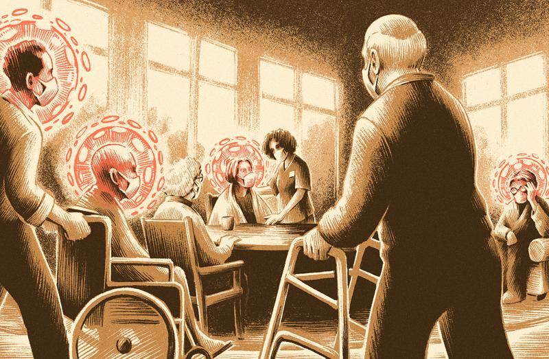 nursing home COVID-19 outbreak illustration