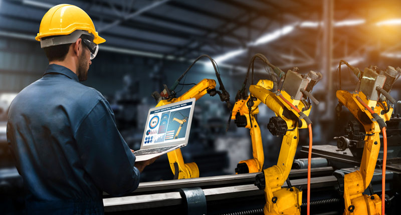 internet of things connected factory stock photo