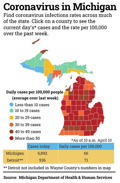 map of Michigan coronavirus cases by county