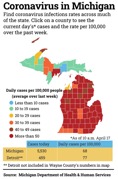 map of Michigan coronavirus cases by county