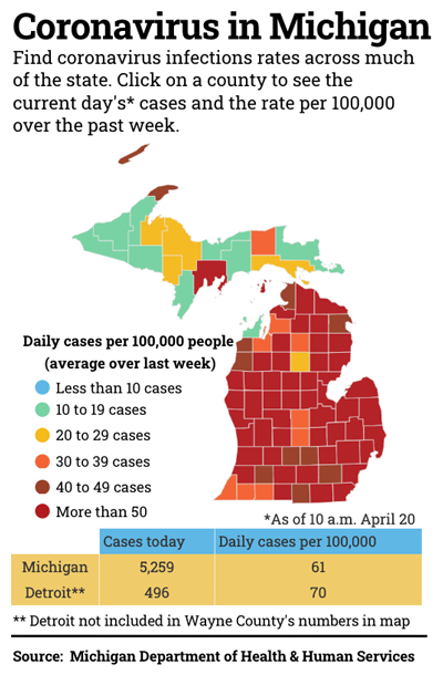 map of Michigan coronavirus cases