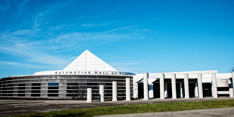 The outside of the Auto Hall of Fame