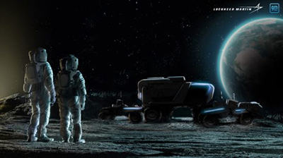 rendering of astronauts on the moon