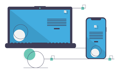 Illustration of laptop and phone