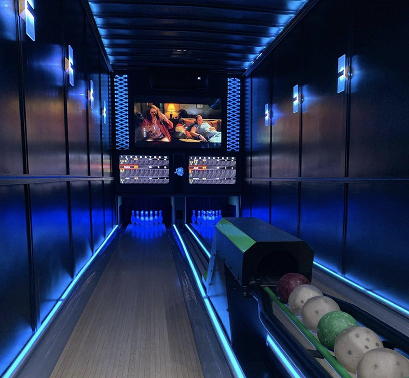 lane-changer Terence Jackson's idea of a mobile bowling alley outfitted inside an 18-wheeler truck bed began in 2019. He started hosting parties lastJune and plans to add a second truck.