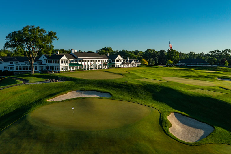 The restored 18th green of Oakland Hills Country Club's storied South Course.  // Photo by Larry Lambrecht, courtesy of Oakland Hills