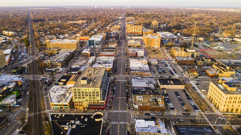 Aerial View of Downtown royal oak, MI