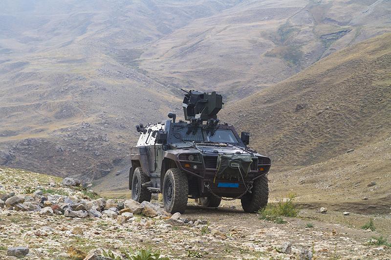 A US ground vehicle on patrol