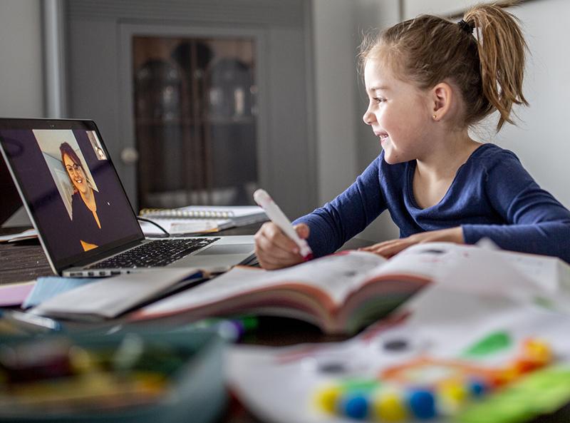 A girl attends online class