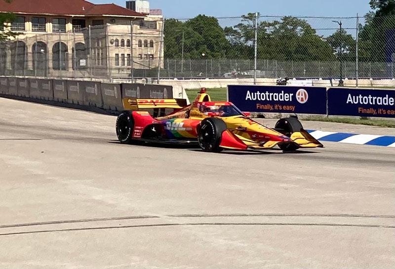 a car rounds a corner at the 2021 Detroit Grand Prix