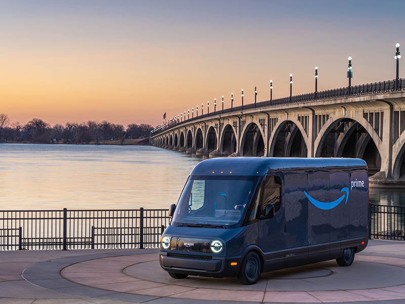 The electric Amazon delivery truck will be tested in 16 cities, including Detroit. // Courtesy of Amazon