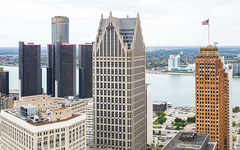 Detroit natural gas pipeline, storage, and gathering provider DT Midstream will open its new headquarters in Bedrock's Ally Detroit Center near Campus Martius. // Courtesy of Bedrock