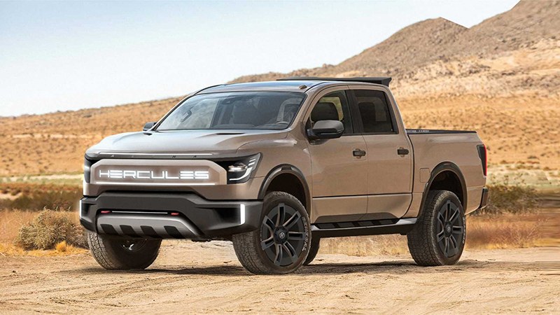 A current rendering of the Hercules Alpha battery-electric pickup truck. // Courtesy of Hercules EV