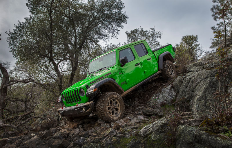 Jeep is offering Gecko Green exterior paint and JPP Gorilla Glass windshields as factory options for both the 2021 Jeep Gladiator and Wrangler models. // Courtesy of Jeep