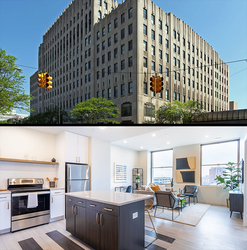 The exterior and the renovated interior of a room at the new Kahn Apartments in Detroit. // Courtesy of Lutz Real Estate Investments