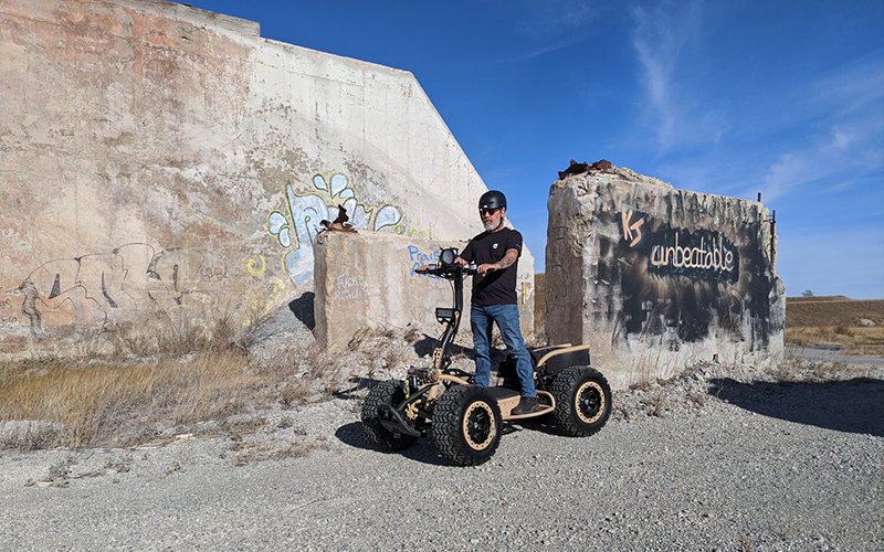 The LyteHorse Labs stand-up all-electric ATV, which will be built in conjunction with Sterling Heights-based Mayco International. // Courtesy of LyteHorse Labs