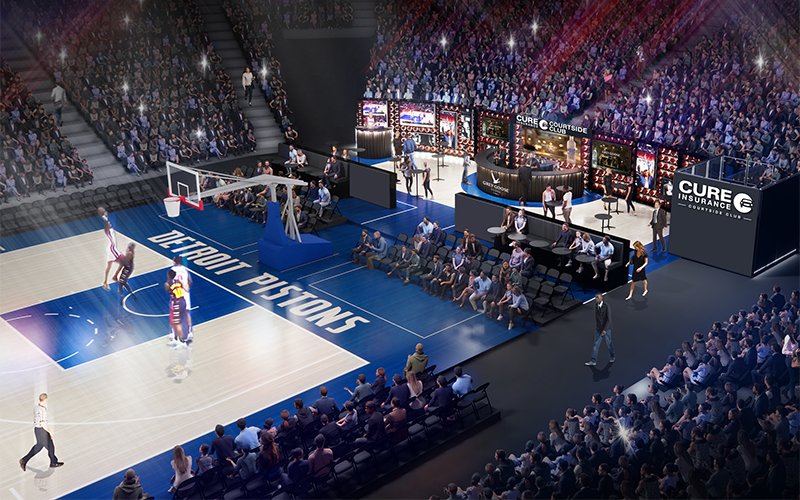 A rendering of the new CURE Insurance Courtside Club, set to open in October for the 2021-22 NBA season. // Courtesy of the Detroit Pistons