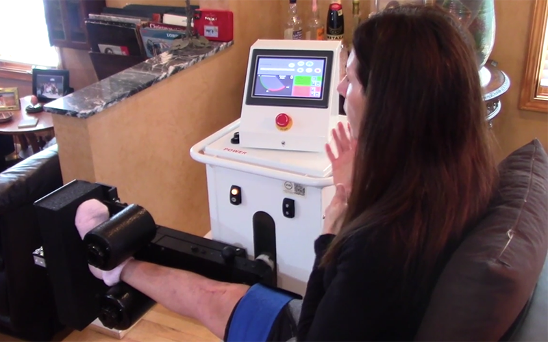 The X10 Rehabilitation Machine, designed to speed up recovery time from knee surgery and decrease dependence on opioids for pain management. // Courtesy of X10 Technologies