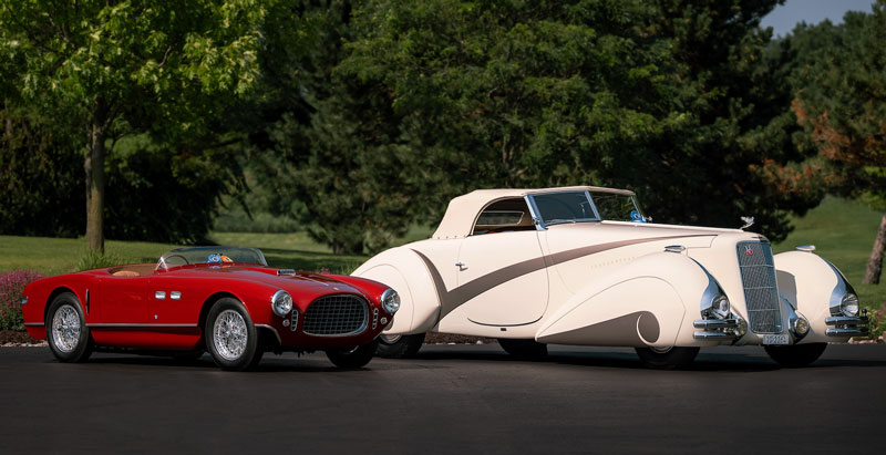 This 1953 Ferrari 250MM by Vignale and 1937 Cadillac Series 90 Convertible by Hartmann won top honors at the Hagerty Concours d'Elegance of America on Sunday. // Courtesy of Hagerty