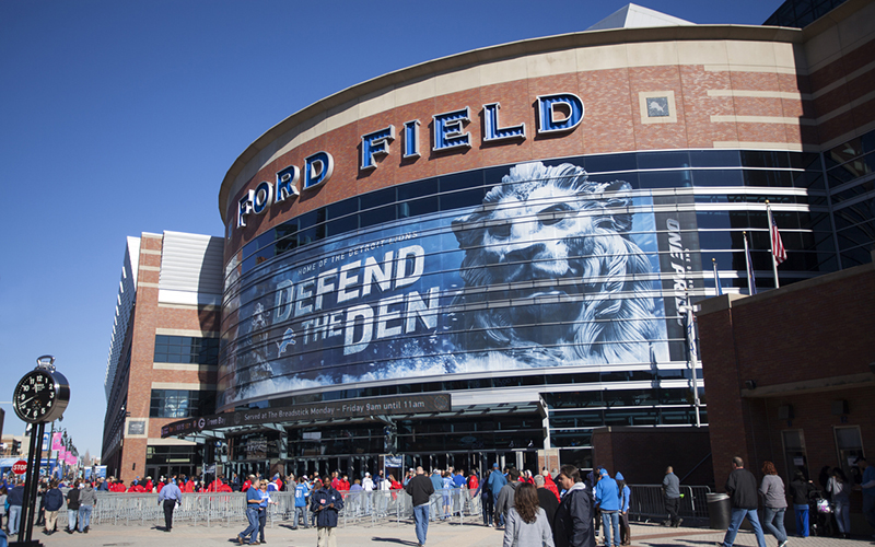 Ford Field will house the new WynnBET Sports Bar opening this season as part of a new partnership with the Detroit Lions. They will also be the official sports betting partner of the team. // Stock Photo