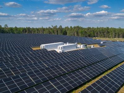solar panels surrounding energy storage devices