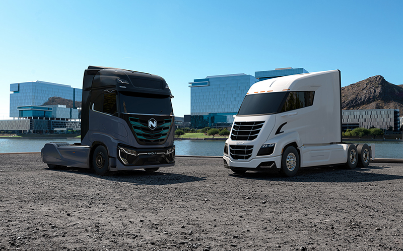 Two of Nikola's Class 8 electric trucks, which Alta Equipment group in Livonia signed a dealer agreement to sell and service. // Courtesy of Nikola Corp.