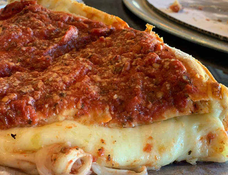 A double decker chicago style pizza