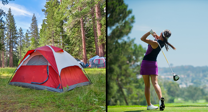 Left: a tent pitched in the woods. Right: a woman finishing her golf swing