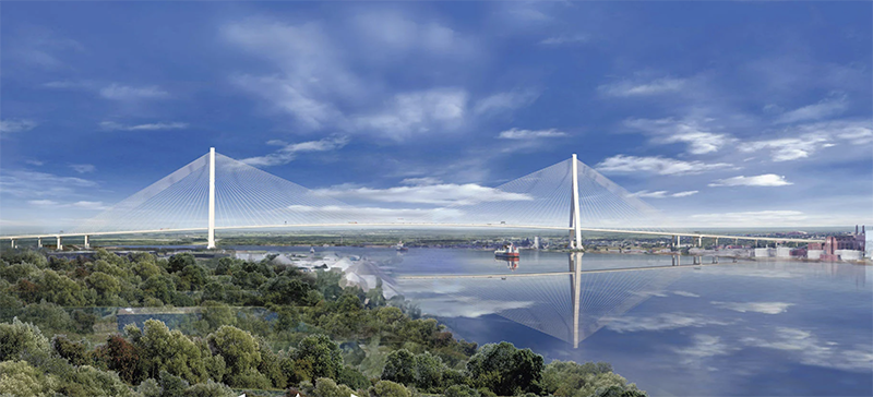 Bridging the Divide - The Gordie Howe International Bridge that will connect Detroit and Windsor is scheduled to open in late 2024. Once operational, it will compete with the privately owned Ambassador Bridge, which opened in 1929. // Courtesy of the Gordie Howe International Bridge Project