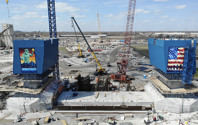 Salute to Progress - The footings on the U.S. side of the Gordie Howe International Bridge are nearing completion. In the coming months, the span will be erected. // Courtesy of the Gordie Howe International Bridge Project