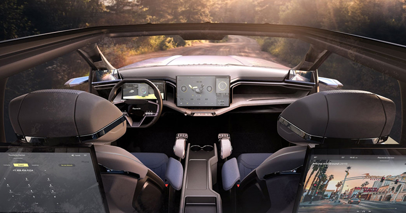 faurecia's interior technology on the back of passenger seats and the center console