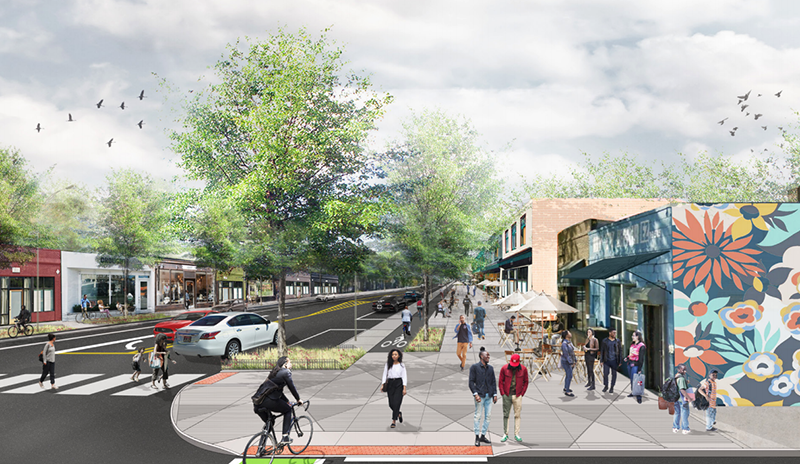 The City of Detroit will undertake streetscape and other improvements along a 5.7-mile stretch of Jefferson Avenue from downtown to near Alter Road in the next three years, similar to recently-completed improvements to Livernois Avenue along the so-called Avenue of Fashion. // Rendering courtesy of the City of Detroit