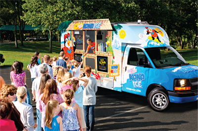 A Kona Shaved Ice truck with a long, waiting line.
