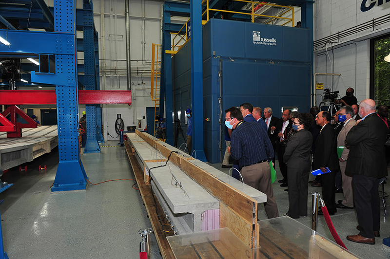 Lawrence Technological University's Center for Innovative Materials Research ran a successful test of its carbon fiber reinforced polymer strand bridges. // Courtesy of LTU