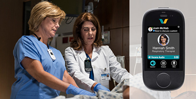 Left: two health care professionals wearing the vocera smartbadge right: the vocera smartbadge