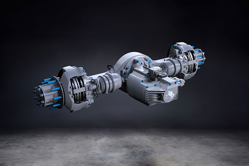 The Meritor Blue Horizon 14Xe ePowertrain integrated drive axle, which the company will provide to Hyliion for electric trucks. // Courtesy of Meritor