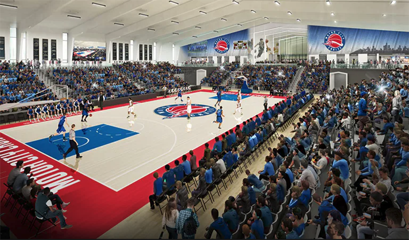 A rendering of the new arena for the Motor City Cruise, the Detroit Pistons G League affiliate