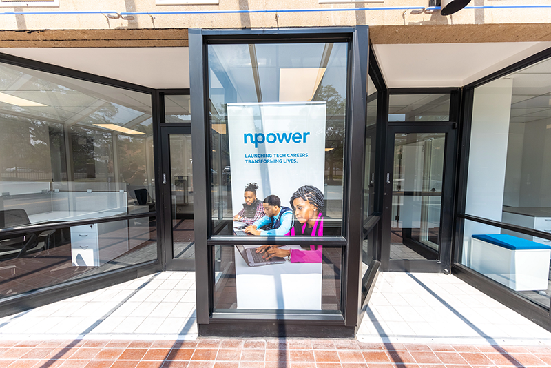 The front facade of the new NPower office in Lothrop Landing.