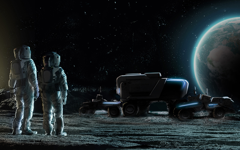 a rendering of two astronauts facing the earth from the surface of the moon with the silhouette of potential design for GM and Lockheed Martin's Lunar Rover.