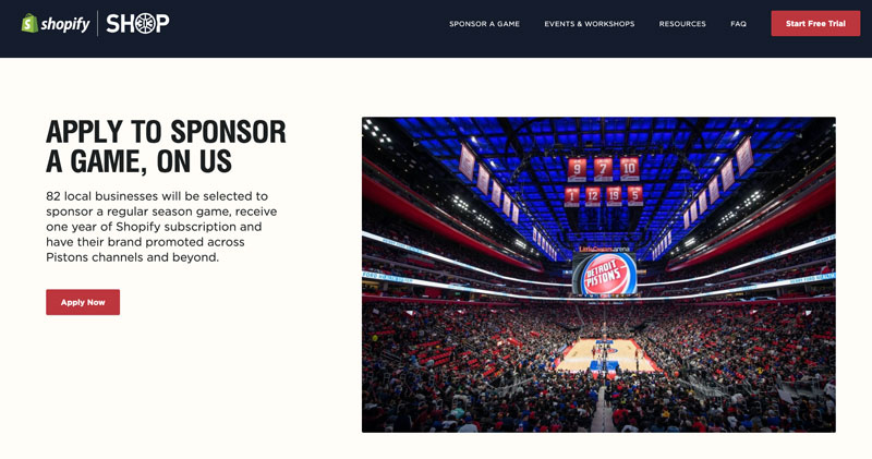 Game sponsorship is one opportunity offered by SHOP313, a collaboration for entrepreneurs by the Detroit Pistons and Shopify. // Screen capture courtesy of SHOP313