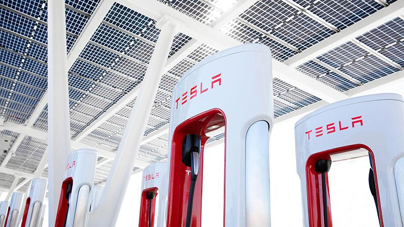 A tesla EV charging station