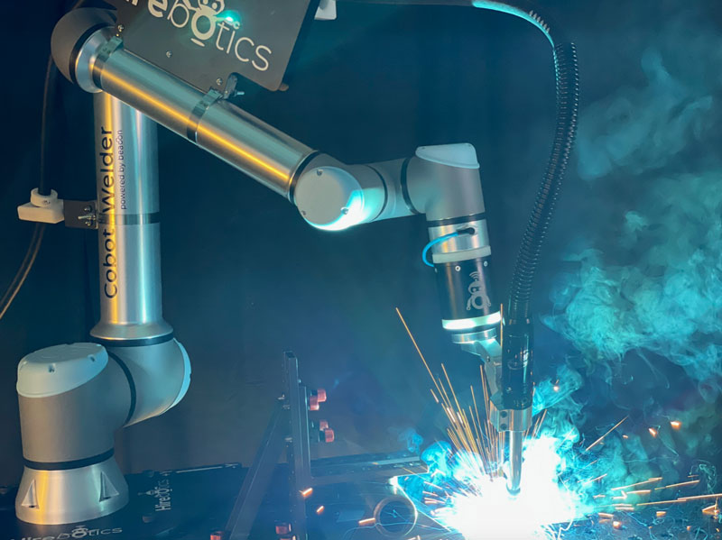 Welding and plasma cutting are now one of Universal Robots' fastest growing markets as UR and its partners will exhibit at FABTECH 2021 in Chicago. // Courtesy of Universal Robots