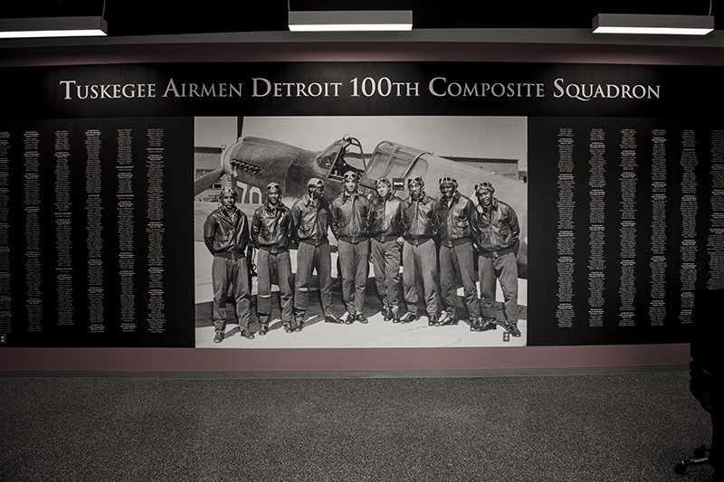 A photo of a memorial to the tuskegee airmen detroit 100th composite squadron