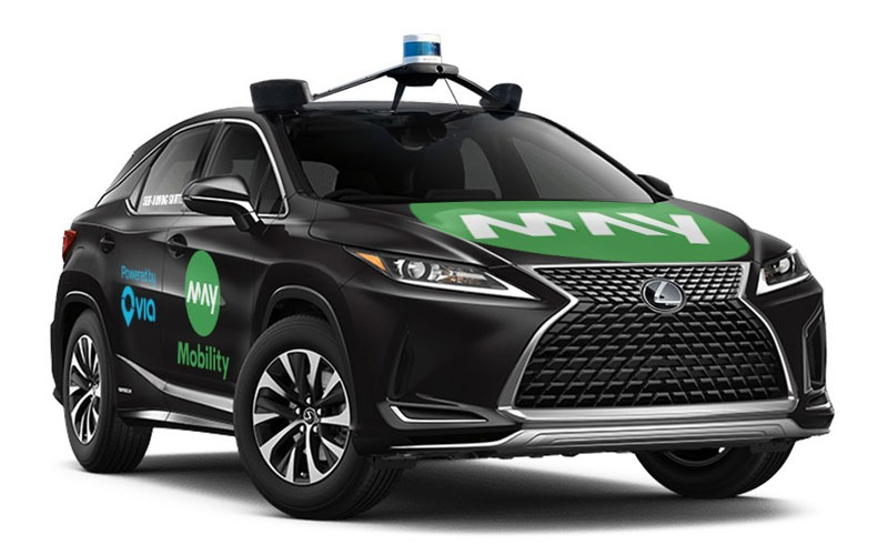 May Mobility's new on-demand service includes four May Mobility Lexus RX450h vehicles and one wheelchair accessible Polaris GEM equipped with May Mobility's autonomous vehicle technology. // Courtesy of May Mobility