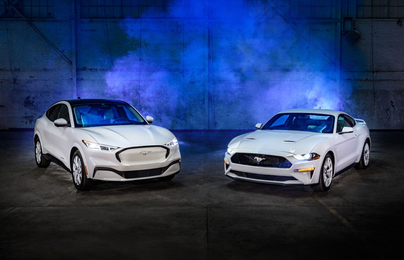 Ford Motor Co. unveiled its Ice White Edition Appearance Package for the 2022 Mustang Mach-E (left) and Mustang. // Courtesy of Ford Motor Co.