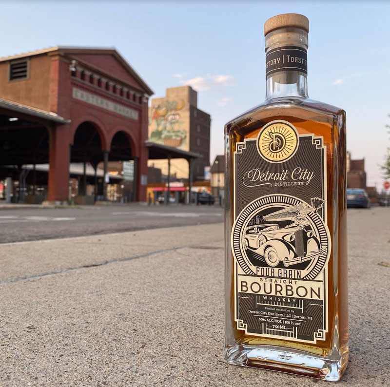 Detroit City Distillery (DCD) is launching Four Grain Straight Bourbon into permanent lineup of whiskies. // Photo courtesy of Detroit City Distillery