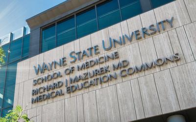 The front facade of the WSU School of Medicine building