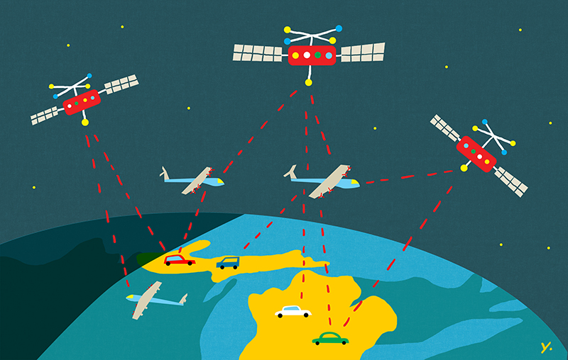 An illustration of satellites and plans orbiting earth